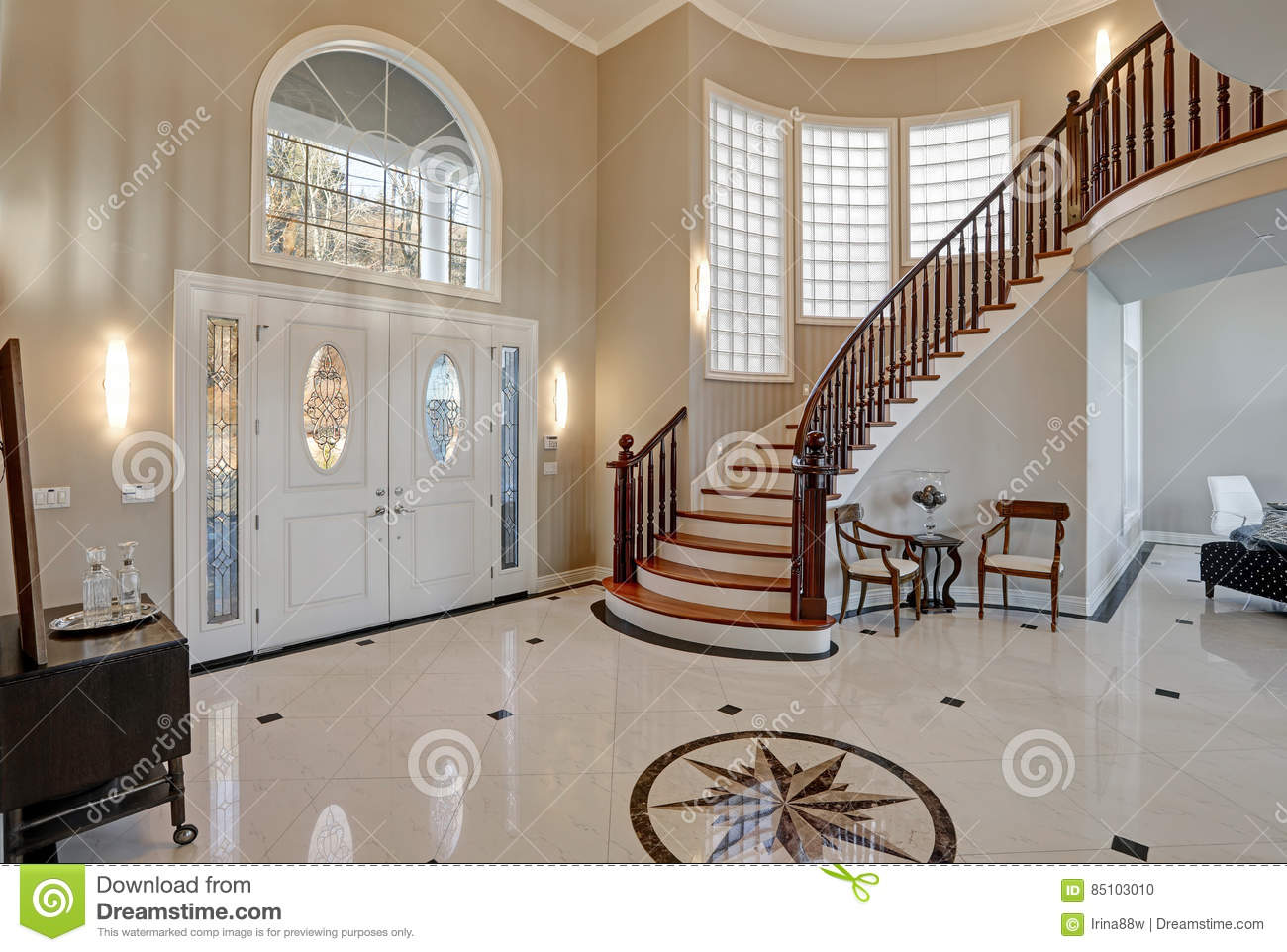Stunning Two Story Entry Foyer With Marble Mosaic Tiled