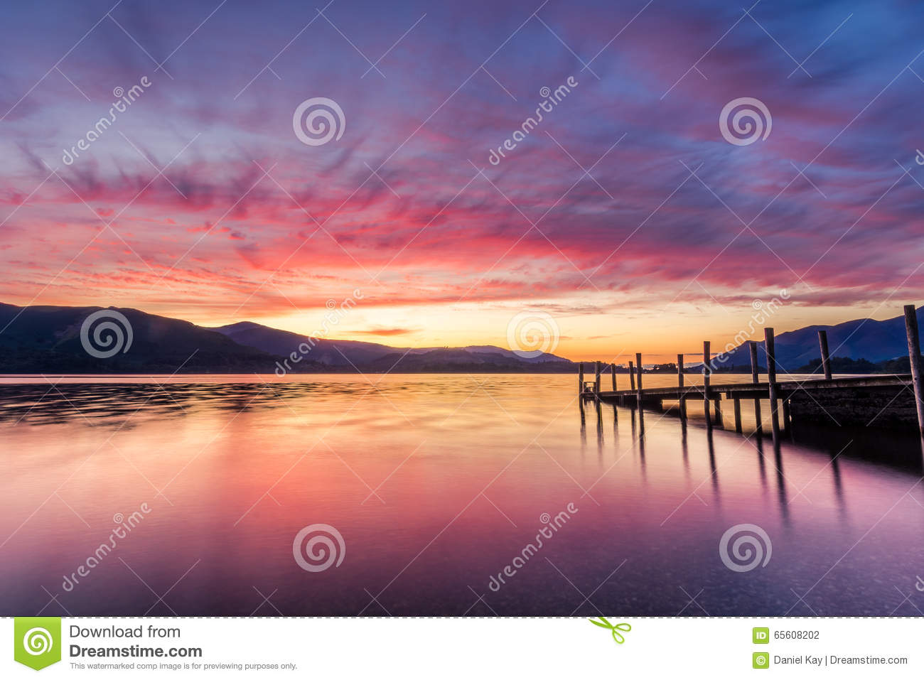 Stunning Vibrant Sunset At Ashness Jetty In Keswick, The Lake District, UK.