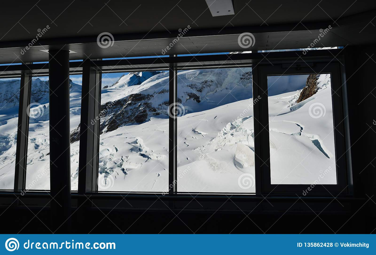 Stunning view of Aletsch glacier from window