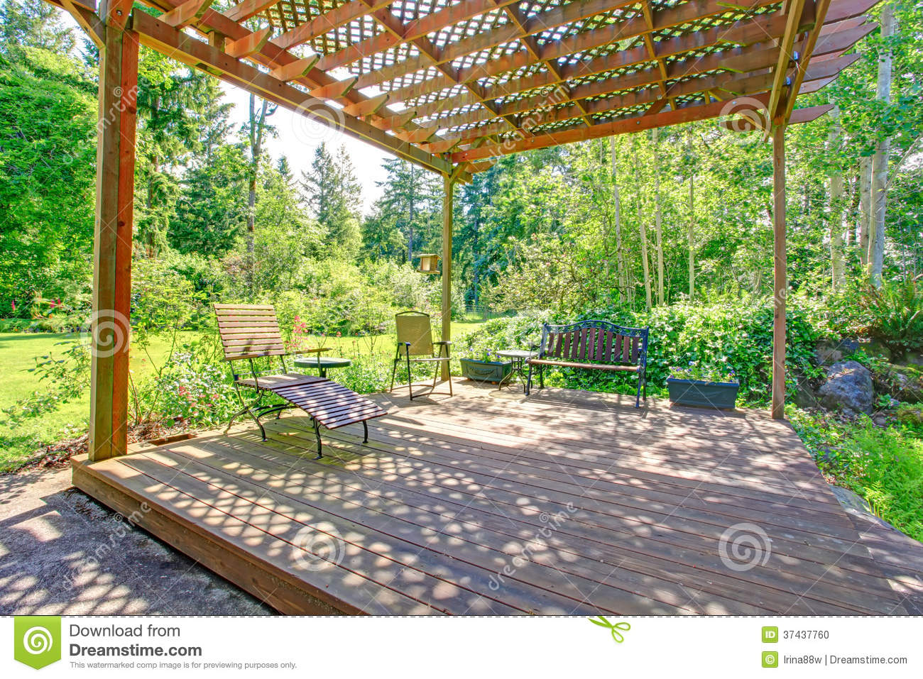 Stock Photo Stunning View Backyard Farm Pergola Open House Rustic Bench Chair Flower Pots Image37437760 on Energy Efficient Greenhouse Design