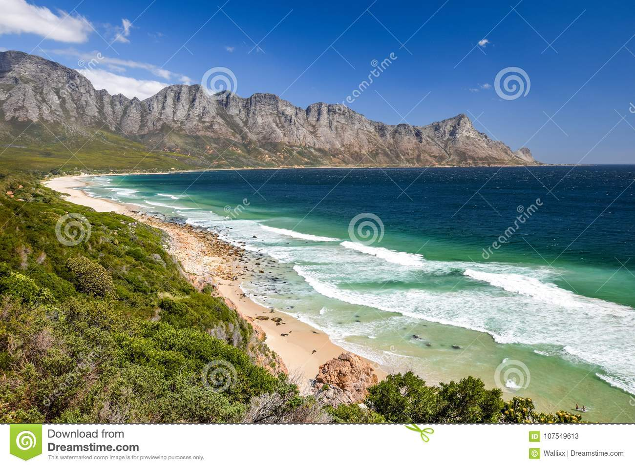 Stunning view of Kogel Bay Beach, located along Route 44 in the eastern part of False Bay near Cape Town between Gordon`s Bay