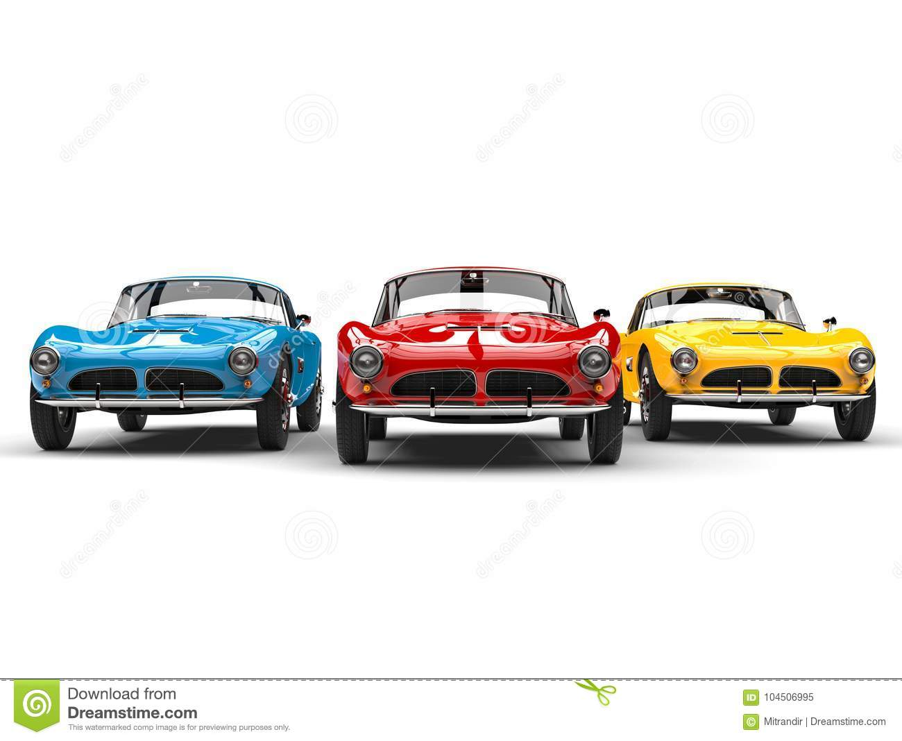 Stunning Vintage Sports Cars In Bright Red Blue And Yellow Colors