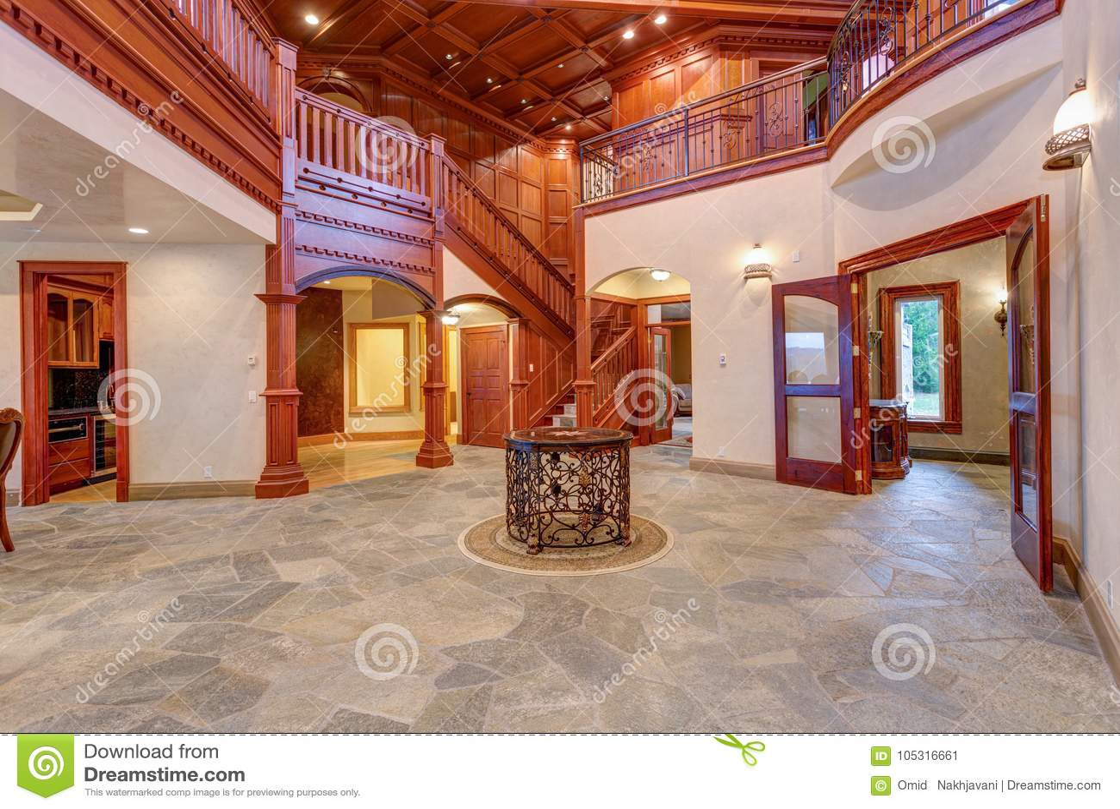 Stunning Wedding Venue Hall With Wood Paneled Walls Stock Image