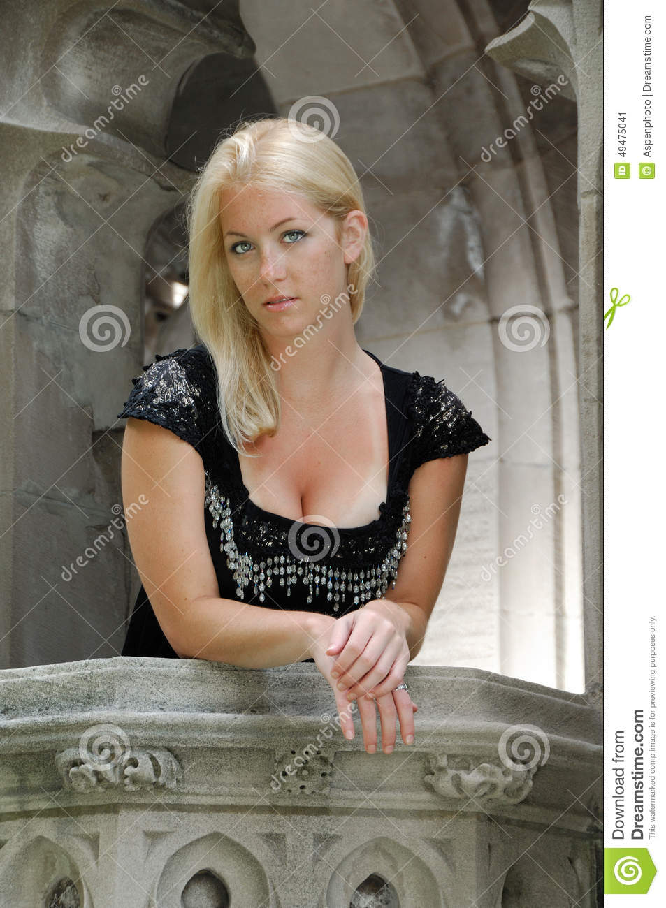 Stunning young blonde woman vintage themed shoot stock for Balcony models