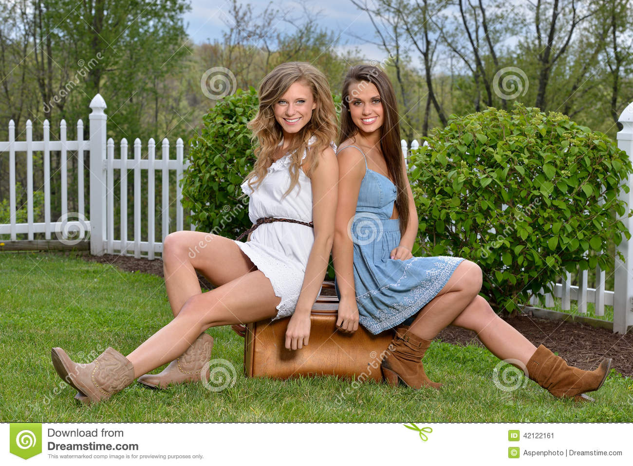 afd92ad3e66 Stunning Young Women In Sundresses With Suitcase Stock Image - Image ...