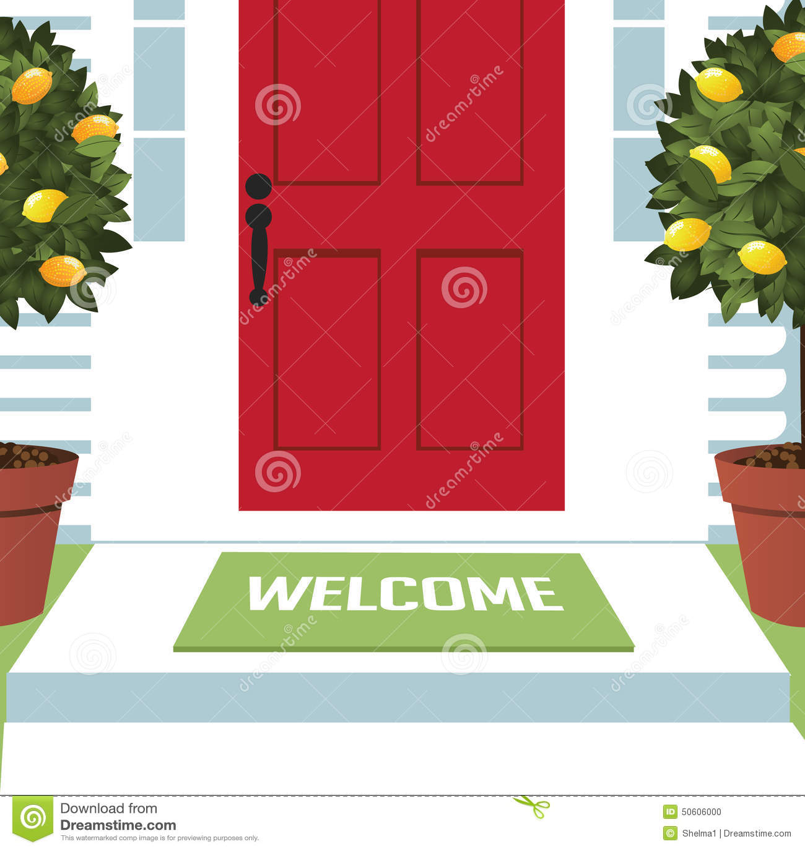 Stuoia benvenuta all entrata principale