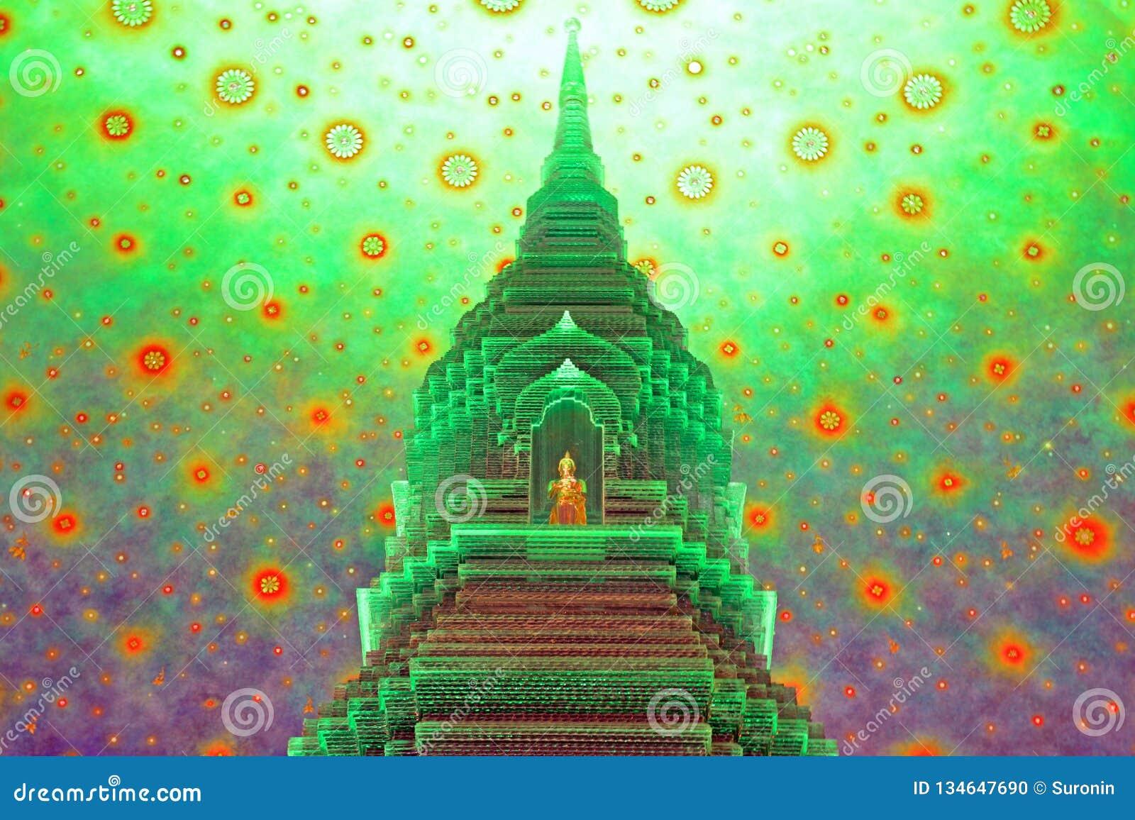 Stupa budista en el templo de Paknam