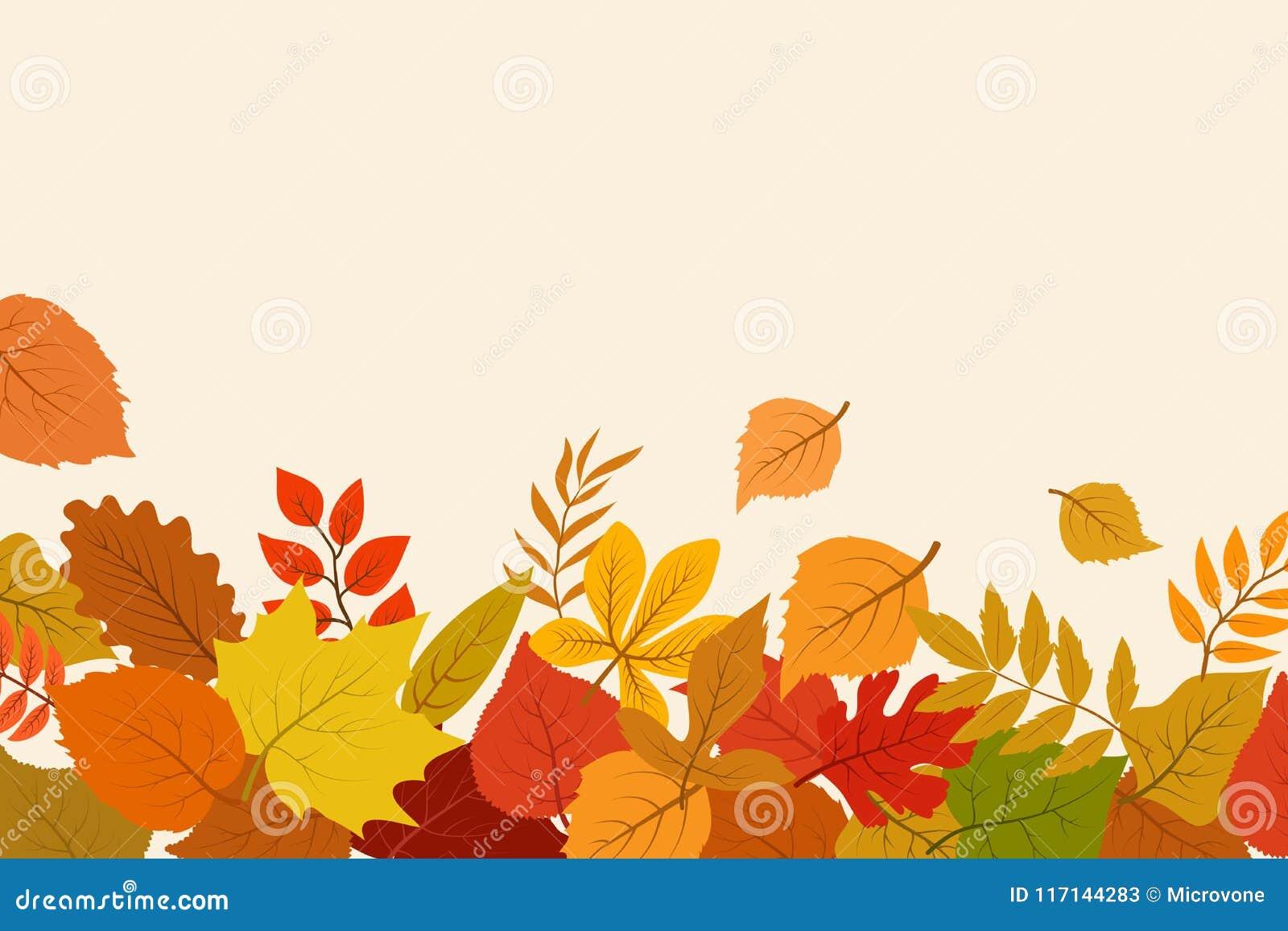 Stupad guld och röda höstsidor Bakgrund för abstrakt begrepp för Oktober naturvektor med lövverkgränsen