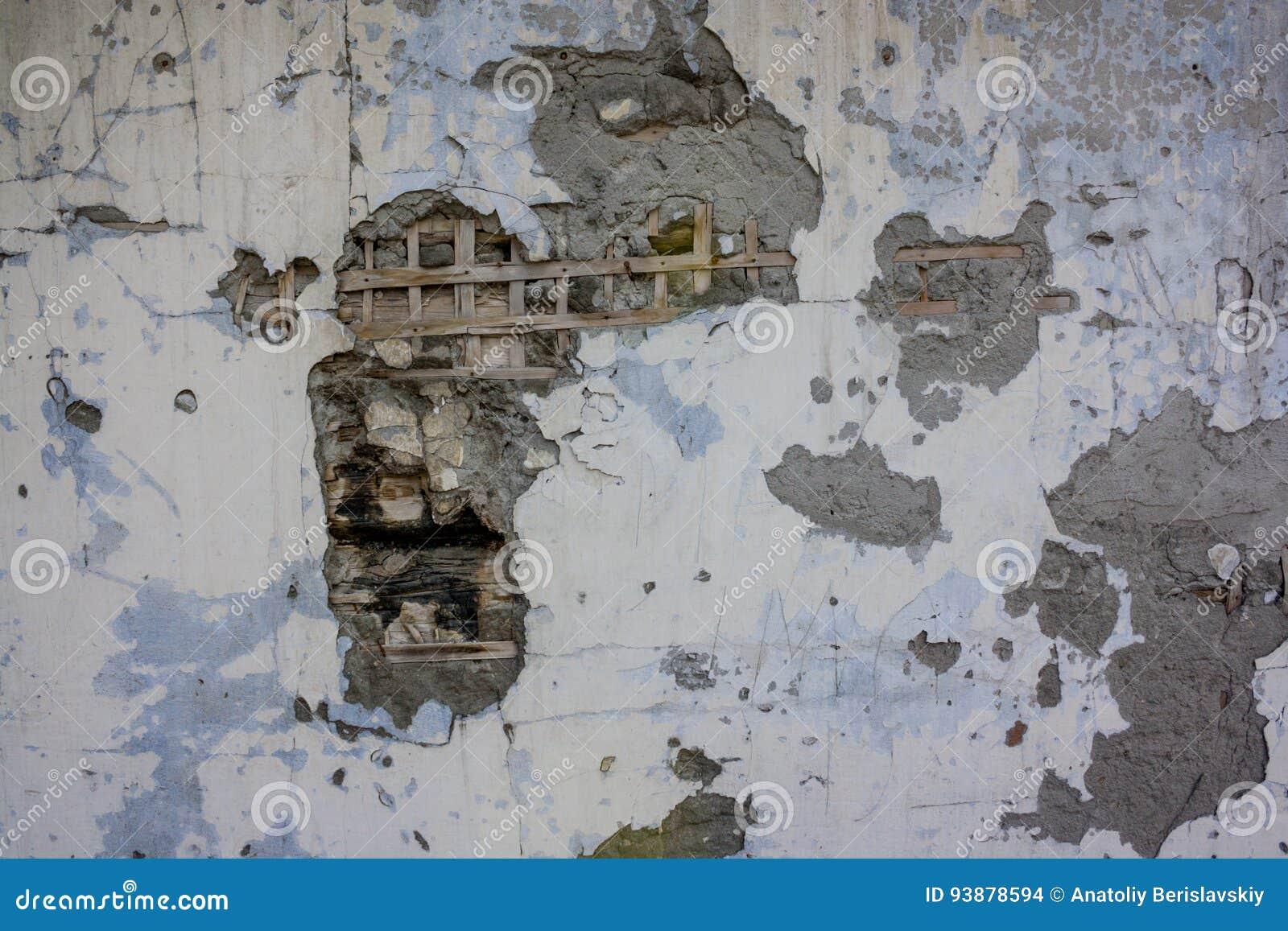 Stupad murbrukväggtextur