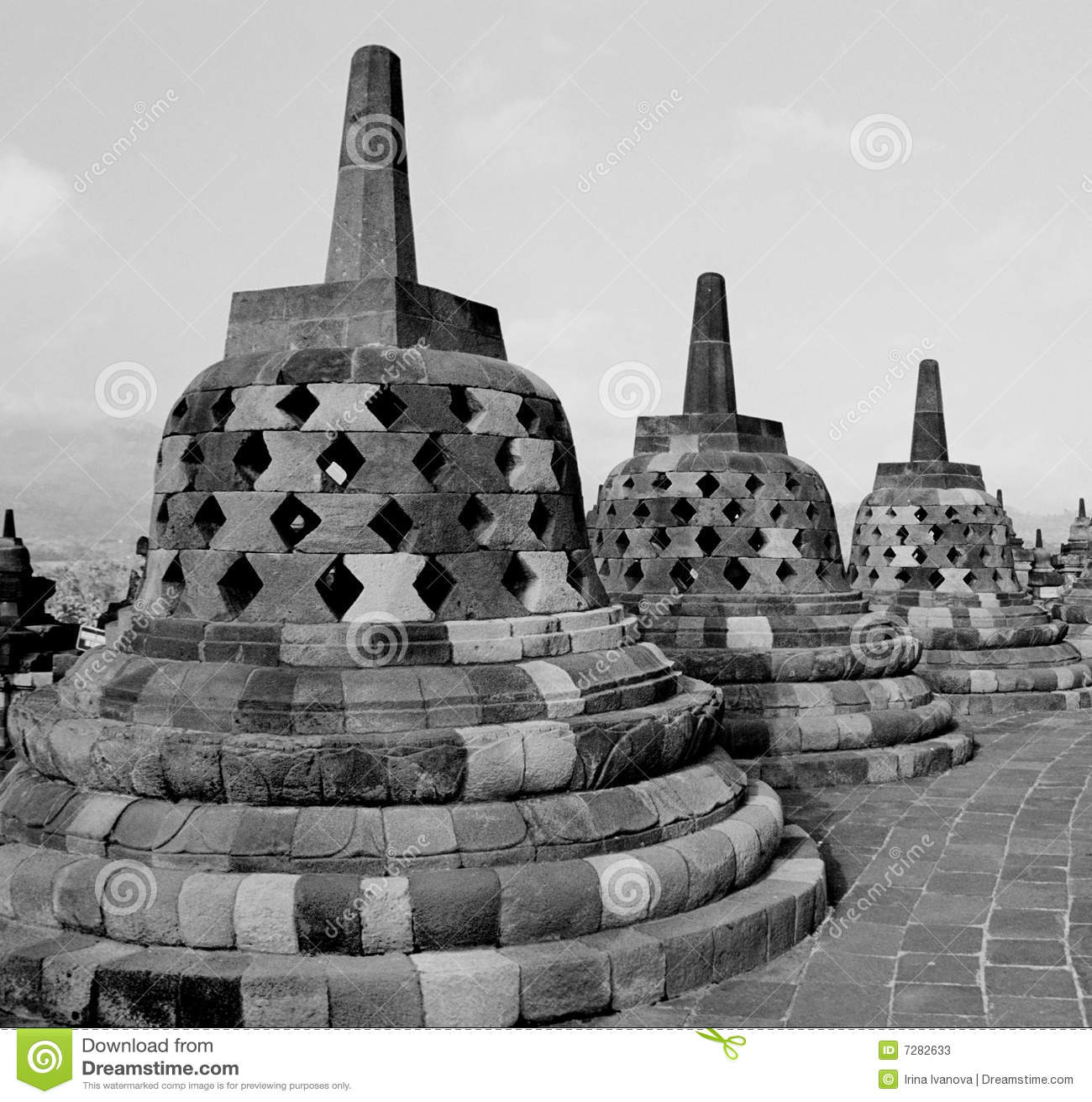 Stupas del templo de Borobudur.