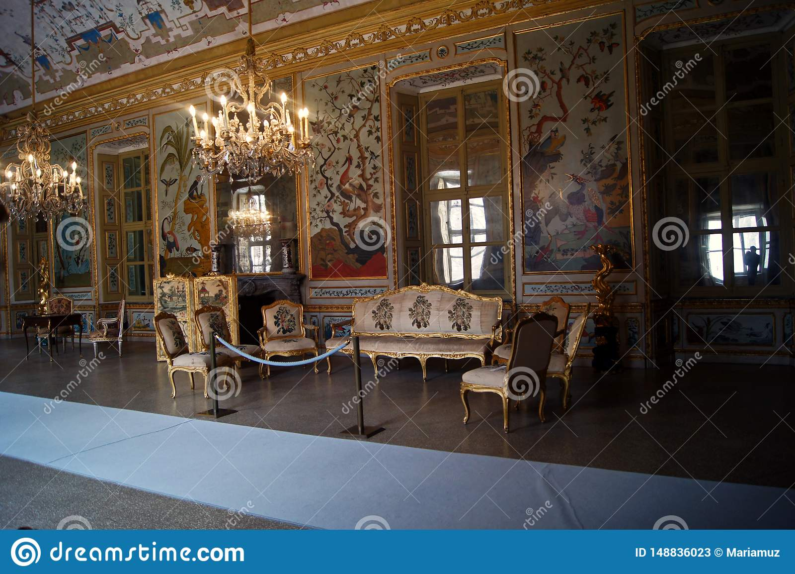 Stupinigi-ιαπωνικό δωμάτιο παλατιών της Ιταλίας, Τορίνο βασιλικό, gamming δωμάτιο