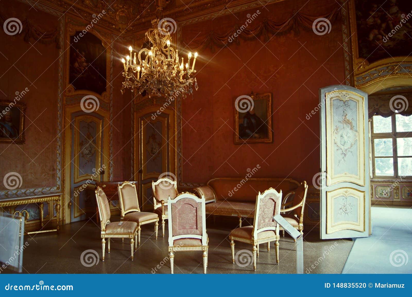 Stupinigi inre Dinning Italien Turin för kunglig slott rum