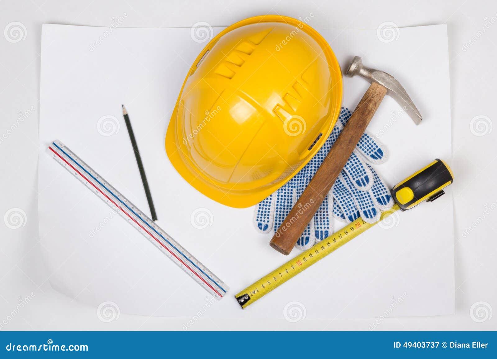 Download Sturzhelm- Und Arbeitswerkzeuge Des Gelben Erbauers über Weiß Stockbild - Bild von handschuhe, erbauer: 49403737