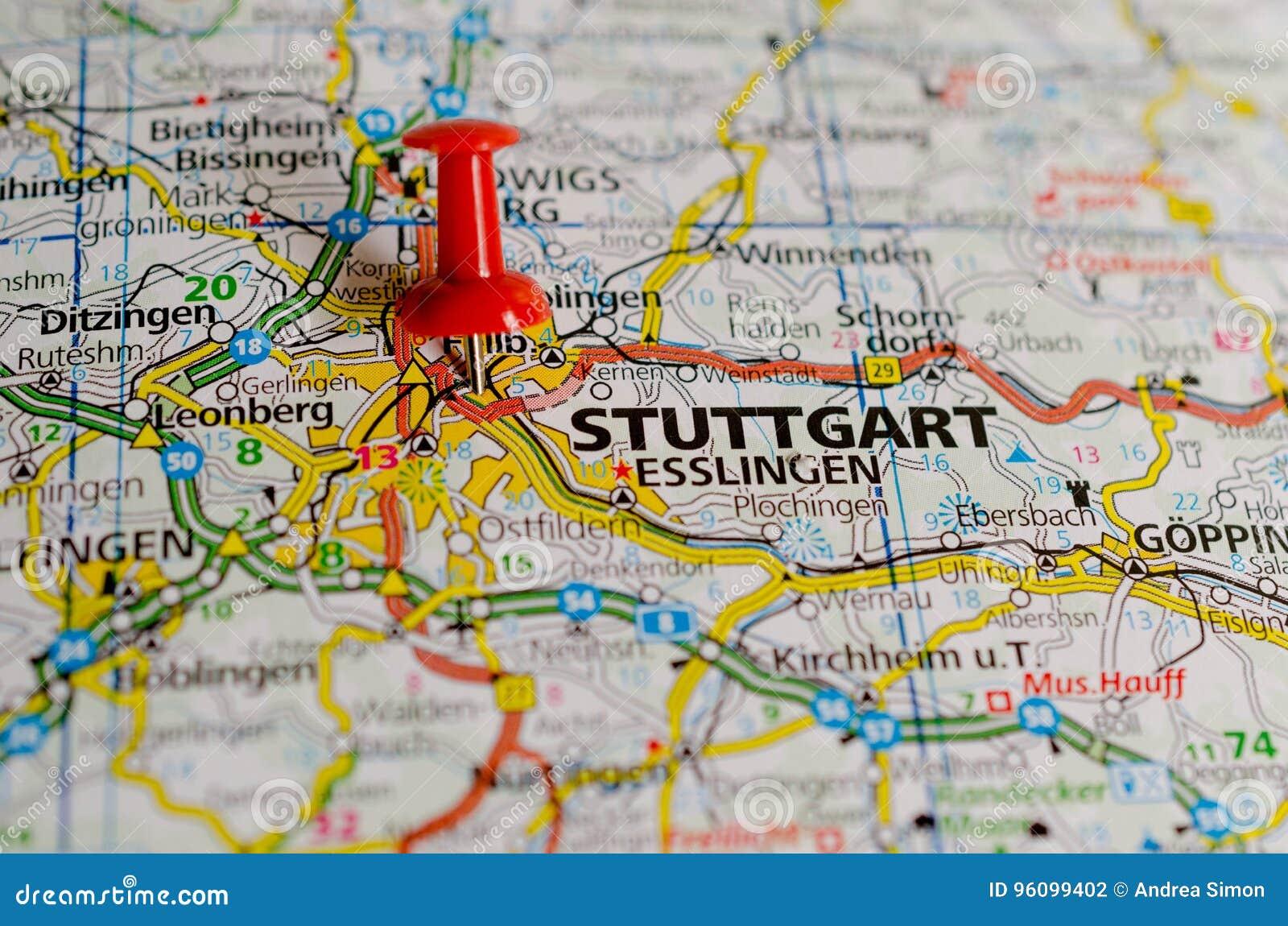 Stuttgart Auf Karte Stockfoto Bild Von Motor Luxus 96099402