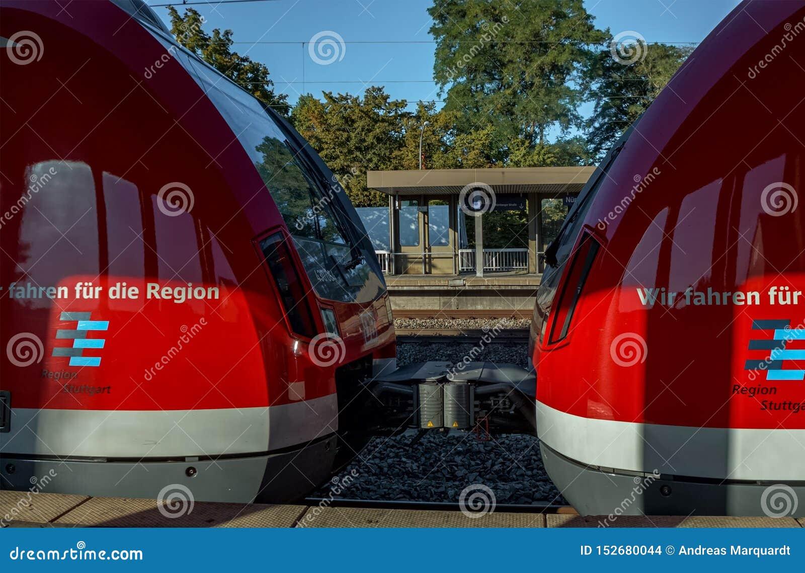 STUTTGART-BAD CANNSTATT, BADEN-WÜRTTEMBERG, DEUTSCHLAND - AUGUST 25,2016: Der Bahnhof ist es eine kleine Station