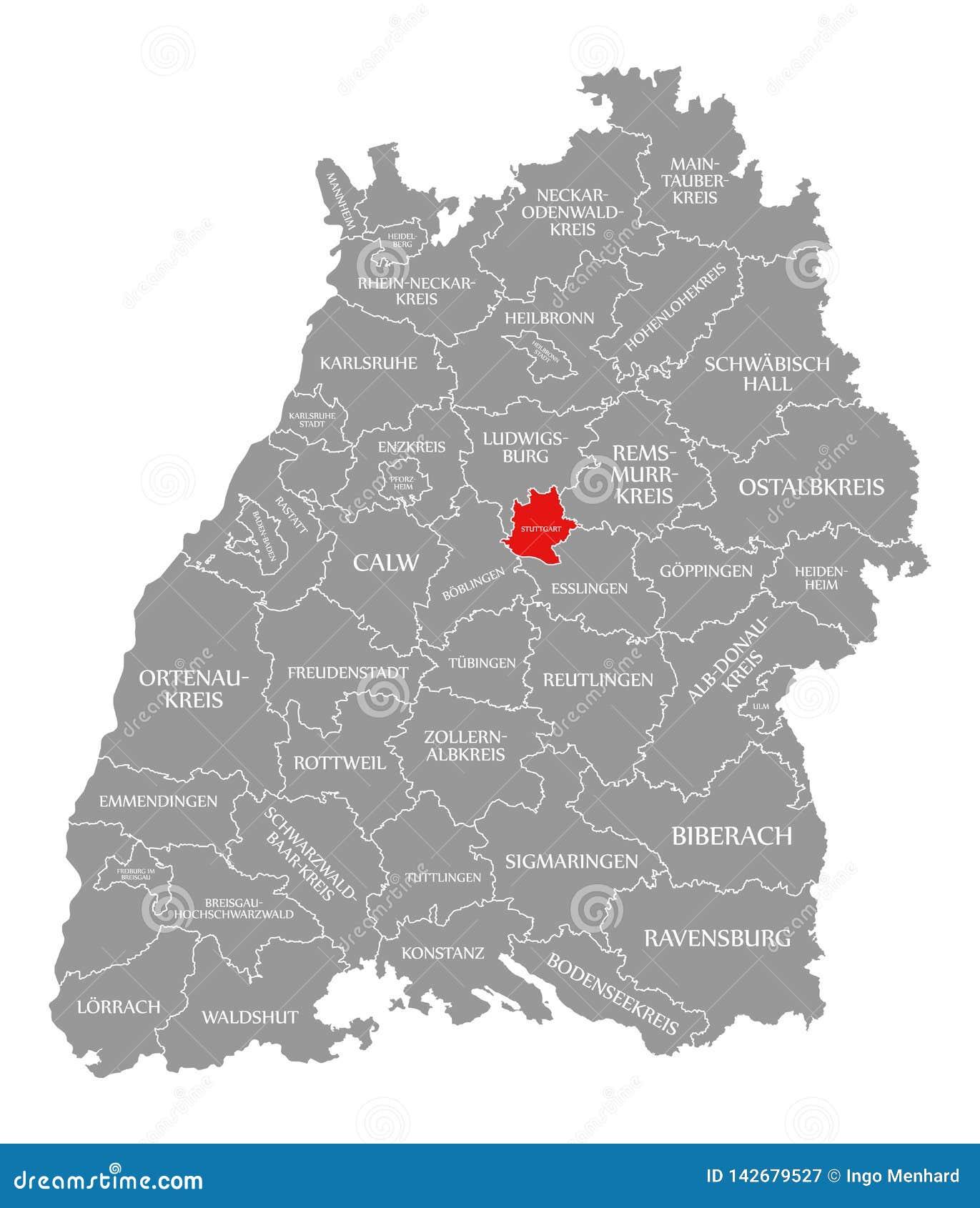 Stuttgart Map Of Germany.Stuttgart County Red Highlighted In Map Of Baden Wuerttemberg
