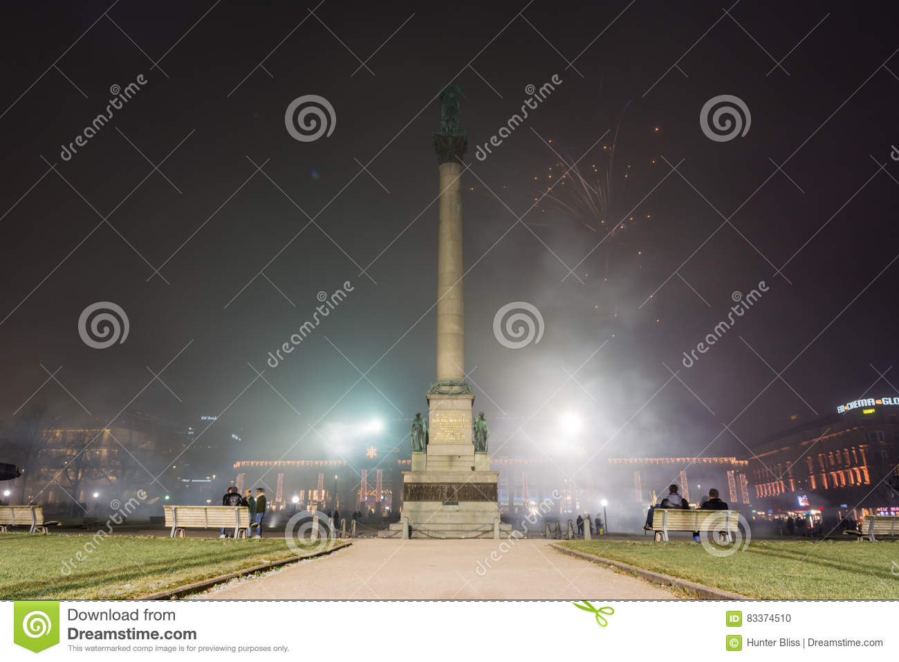 Stuttgart Fireworks Schlossplatz Smoke New Year Celebration Ominous Fog Night Spotlights Explosions Fire 2016 2017