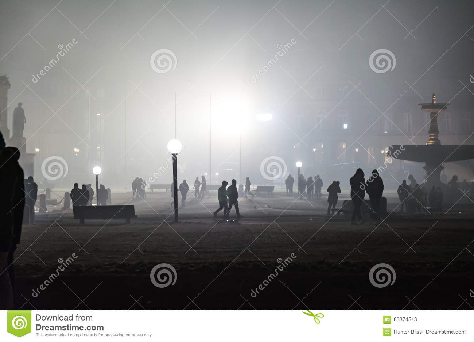 Stuttgart Fireworks Schlossplatz Smoke New Year Celebration Ominous Fog Night Spotlights Explosions Fire 2016 2017