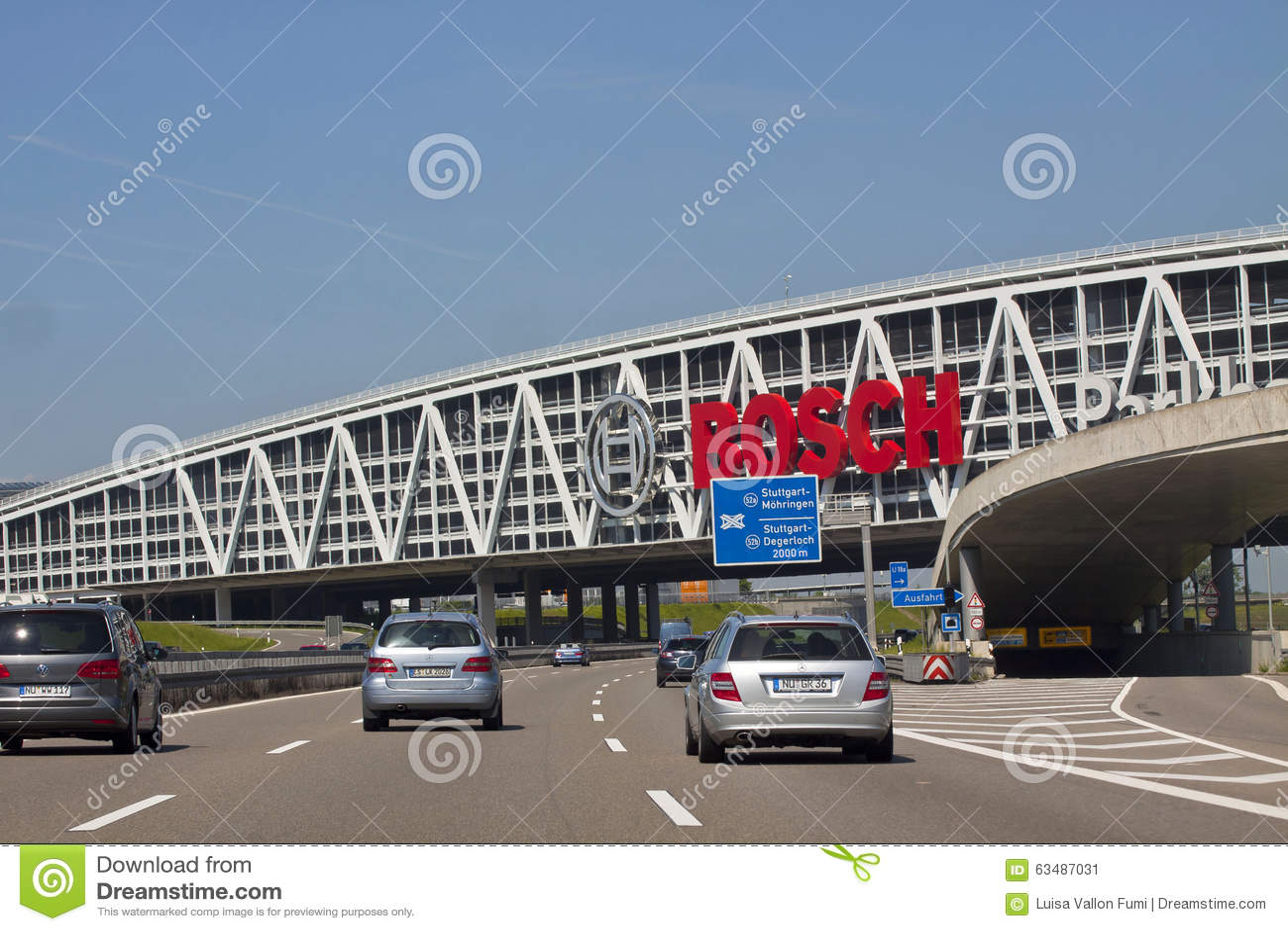Stuttgart, Germany   Carpark Bridge Over A20 Highway with Bosch Ad ...
