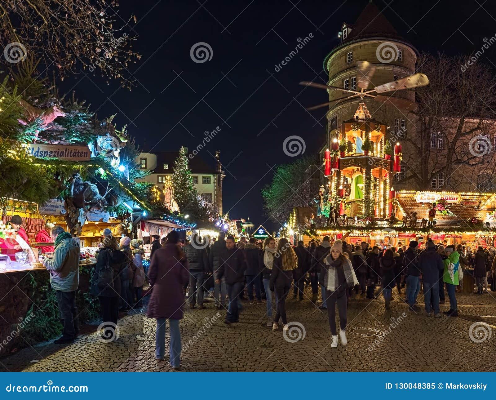 Christmas In Stuttgart Germany.Christmas Market Close To Old Castle In Stuttgart Germany