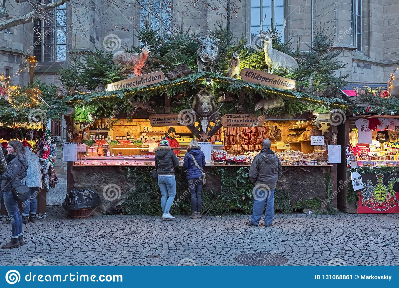 Christmas In Stuttgart Germany.Market Stall With Wild Meat Specialties At Christmas Market