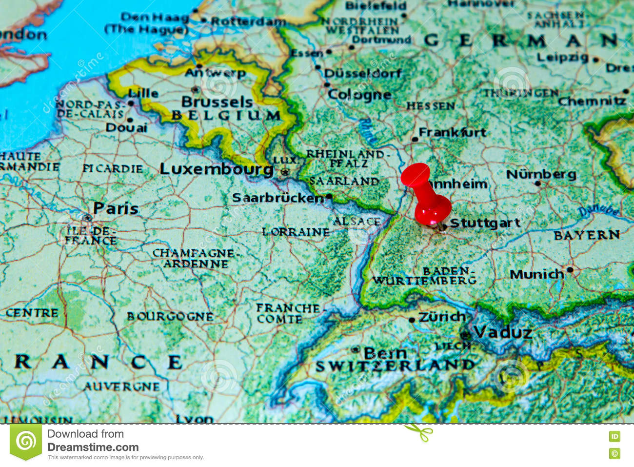 Stuttgart Germany Pinned On A Map Of Europe Stock Photo Image of