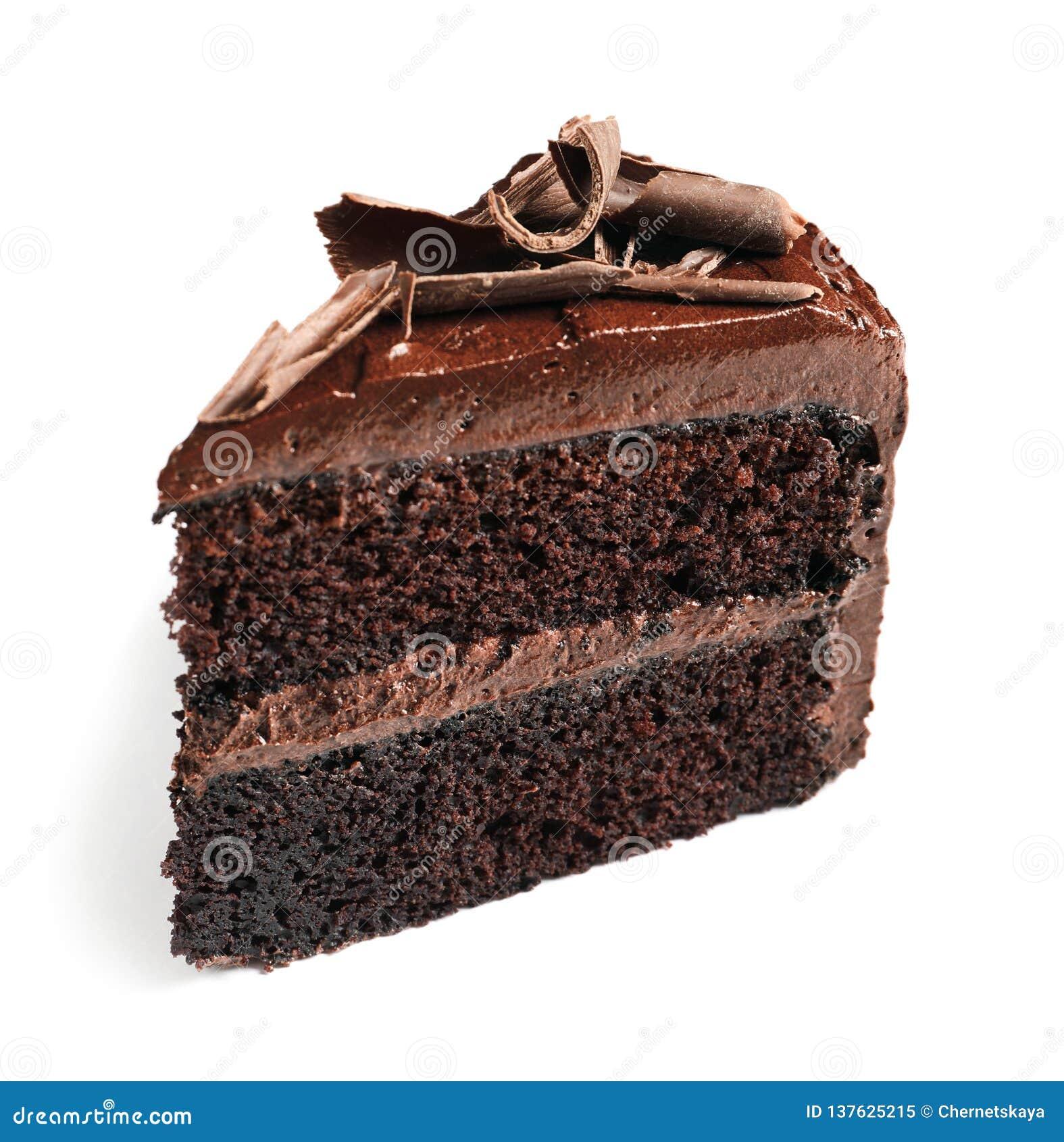 Stycke av den smakliga hemlagade chokladkakan