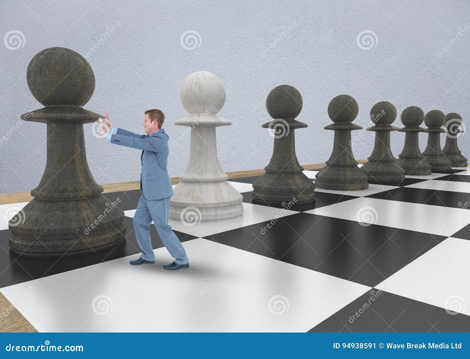 Stycke för schack för affärsman driftigt mot den gråa väggen