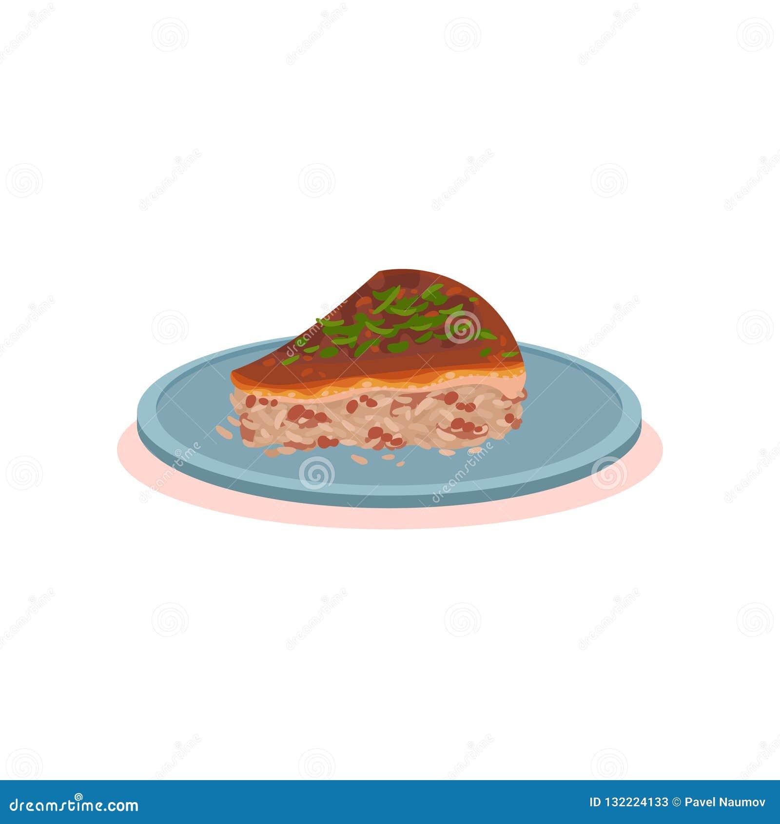Stycket av Agneshko stoppade pajen, för matmaträtt för bulgarisk kokkonst nationell illustration för vektor på en vit bakgrund
