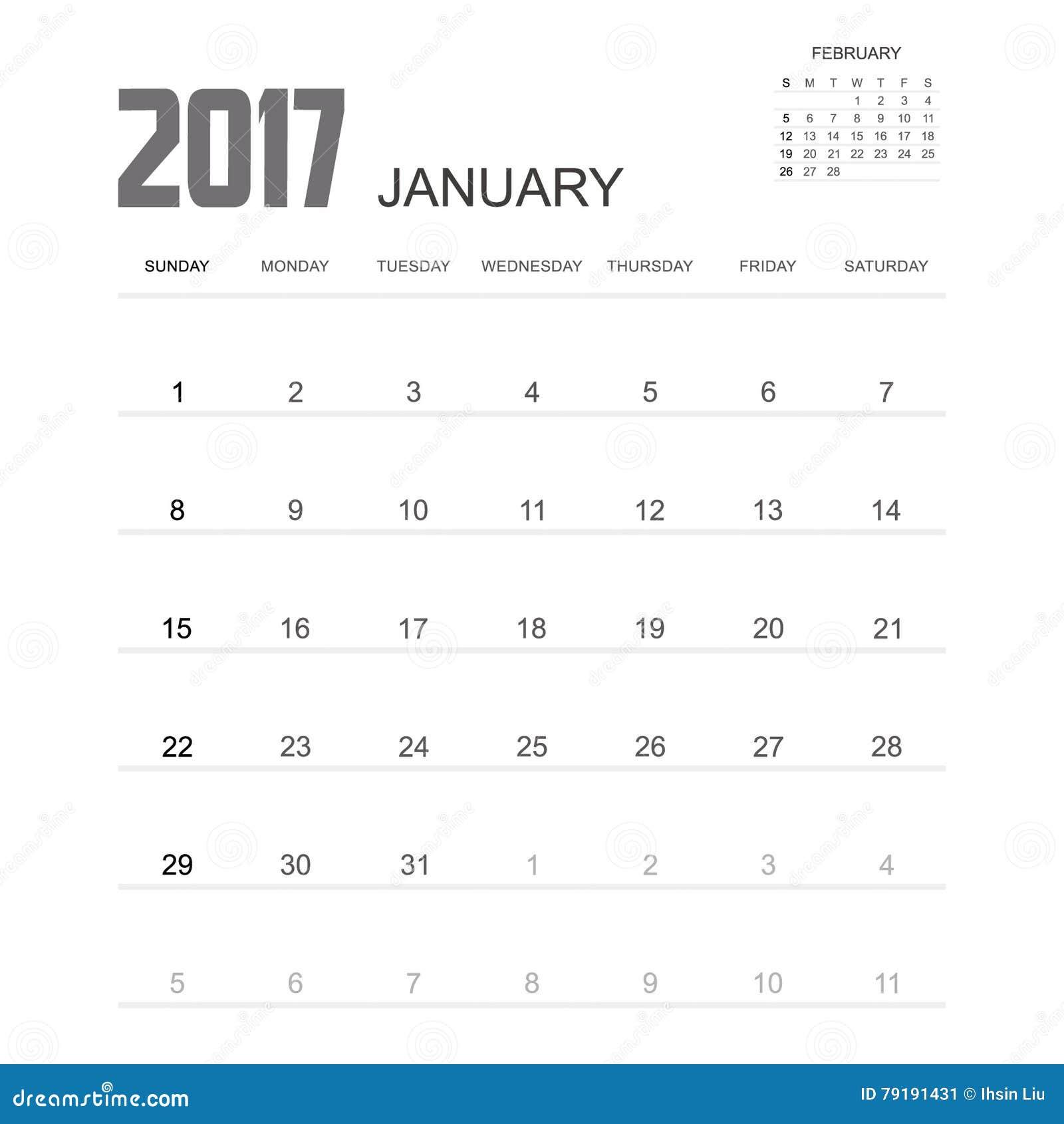 2017 STYCZNIA kalendarza planisty projekt