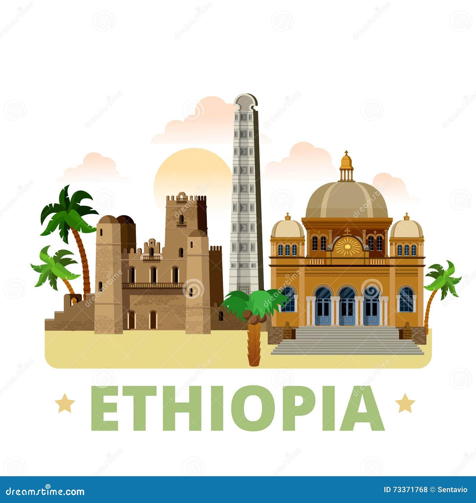 Styl för tecknad film för lägenhet för mall för Etiopien landsdesign