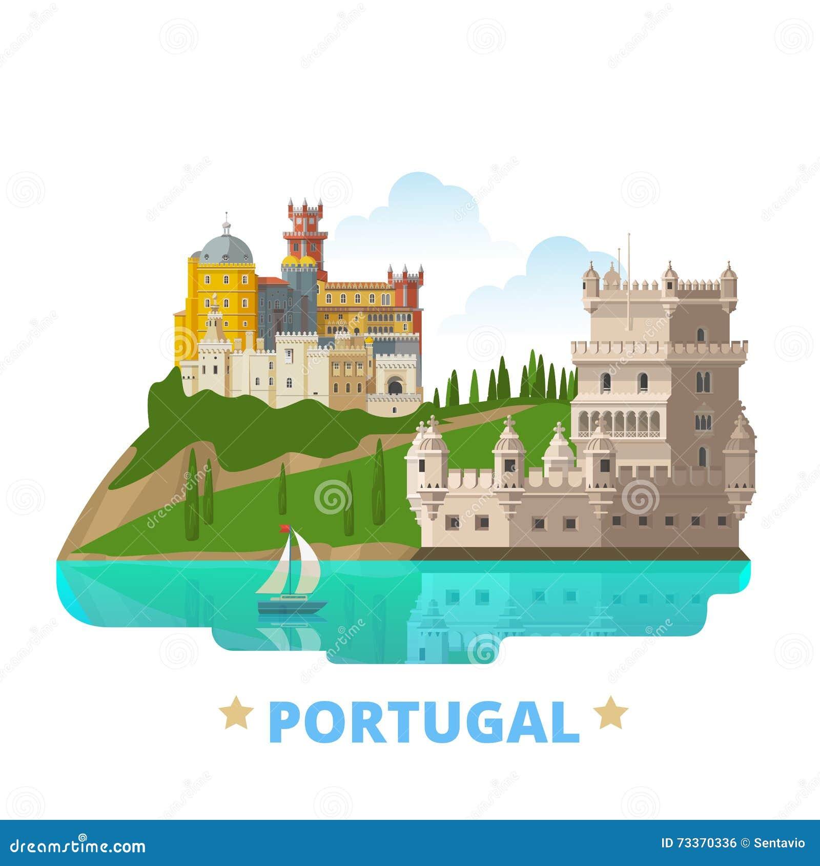 Styl Liso Dos Desenhos Animados Do Molde Do Projeto Do Pais De Portugal Ilustracao Do Vetor Ilustracao De Liso Styl 73370336