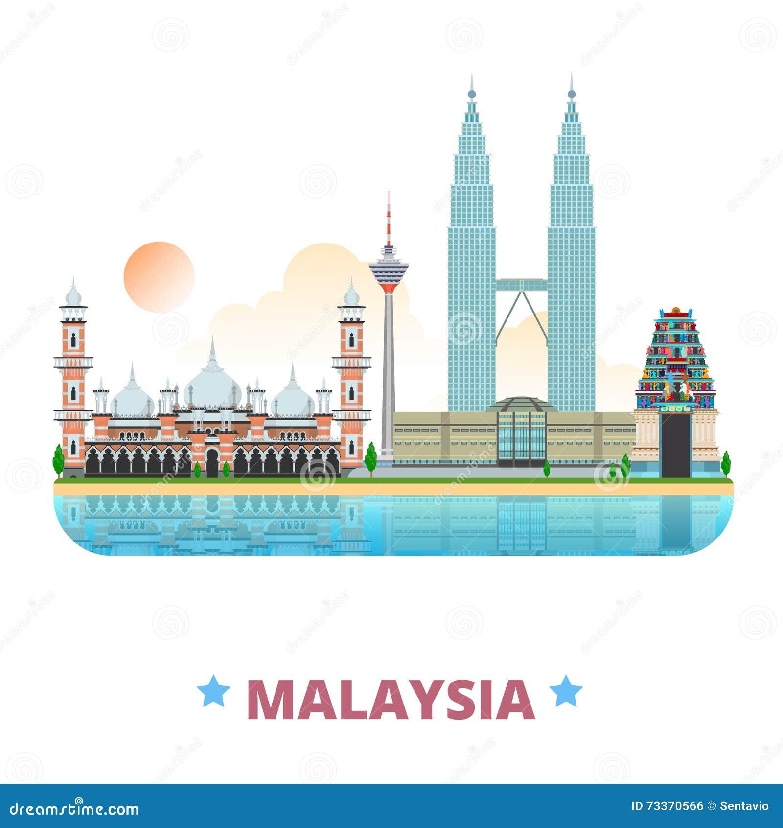 Styl plano de la historieta de la plantilla del diseño del país de Malasia