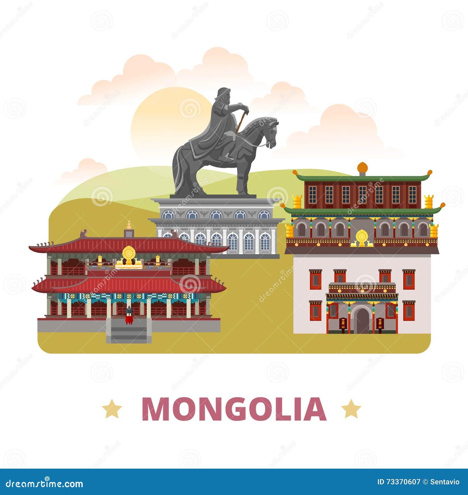 Styl plano de la historieta de la plantilla del diseño del país de Mongolia