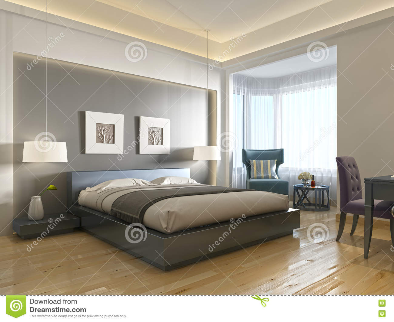 style contemporain moderne de chambre d 39 h tel avec des l ments d 39 art d co illustration stock. Black Bedroom Furniture Sets. Home Design Ideas