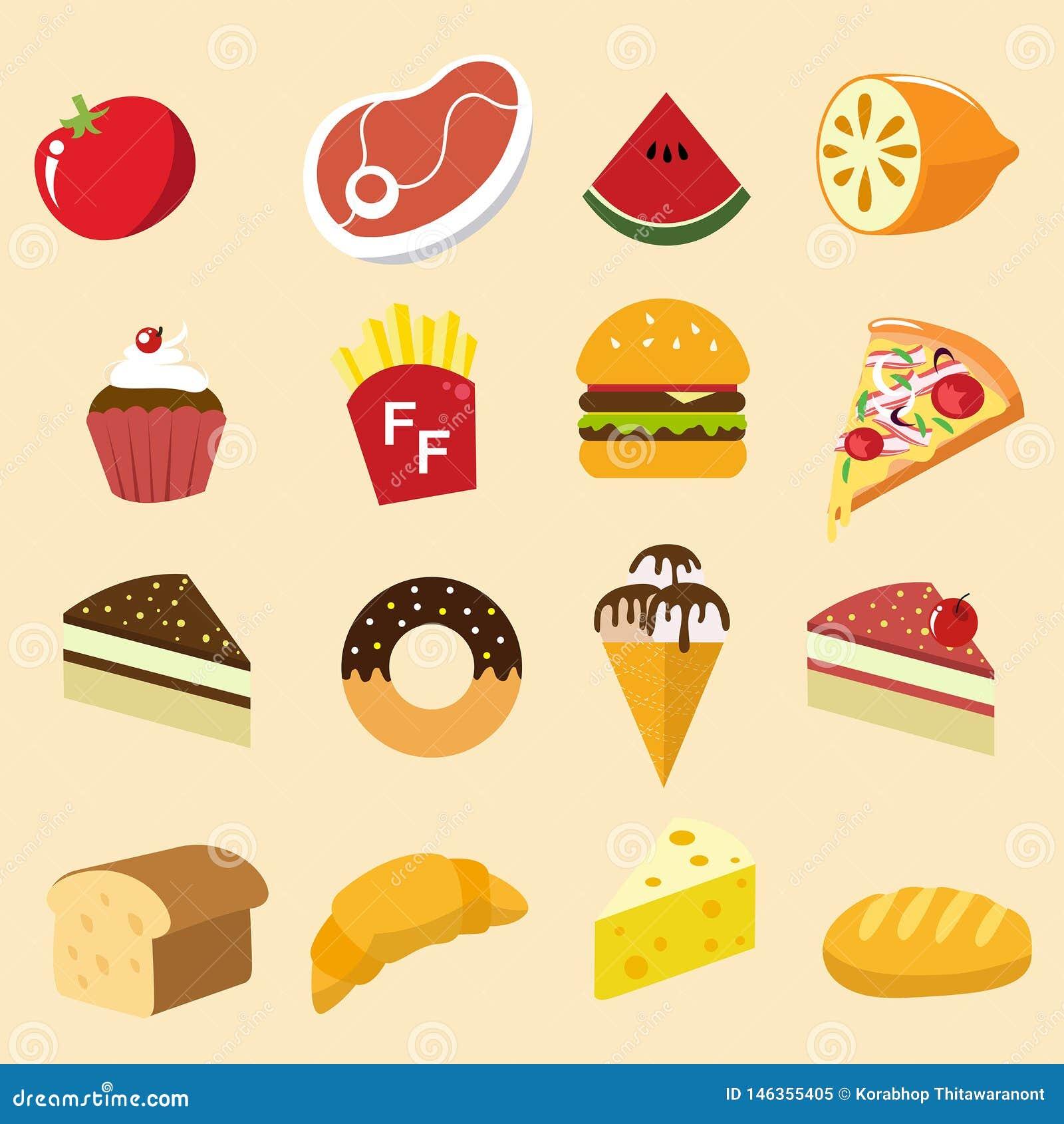 Style d illustration d icône d ensemble de nourriture