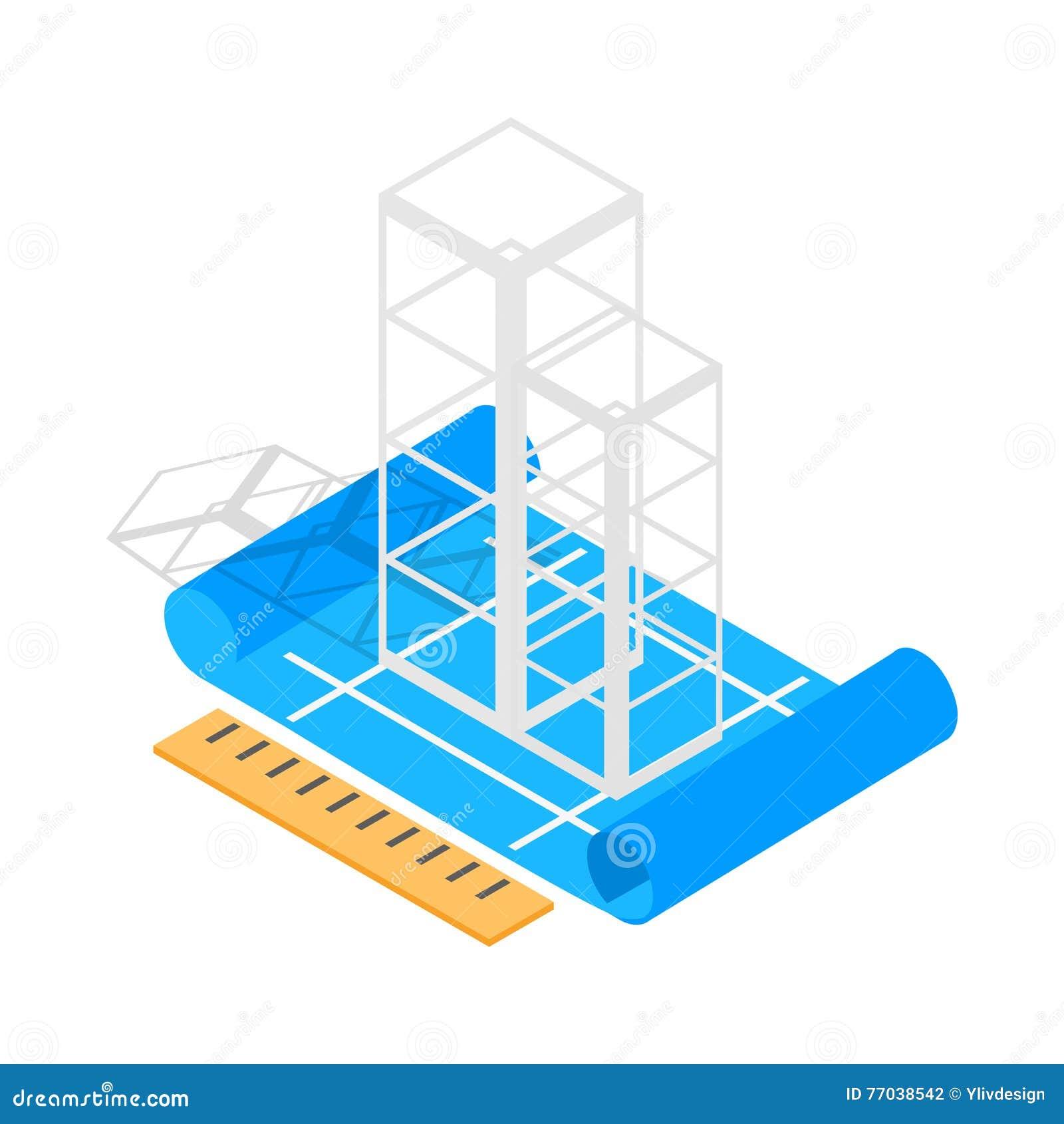 Style 3d isométrique d icône de plan de construction de bâtiments