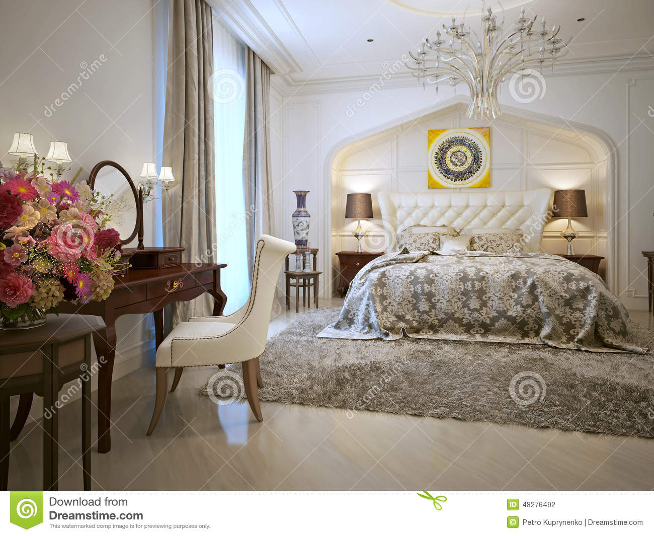 style d 39 oriental de chambre coucher illustration stock image 48276492. Black Bedroom Furniture Sets. Home Design Ideas