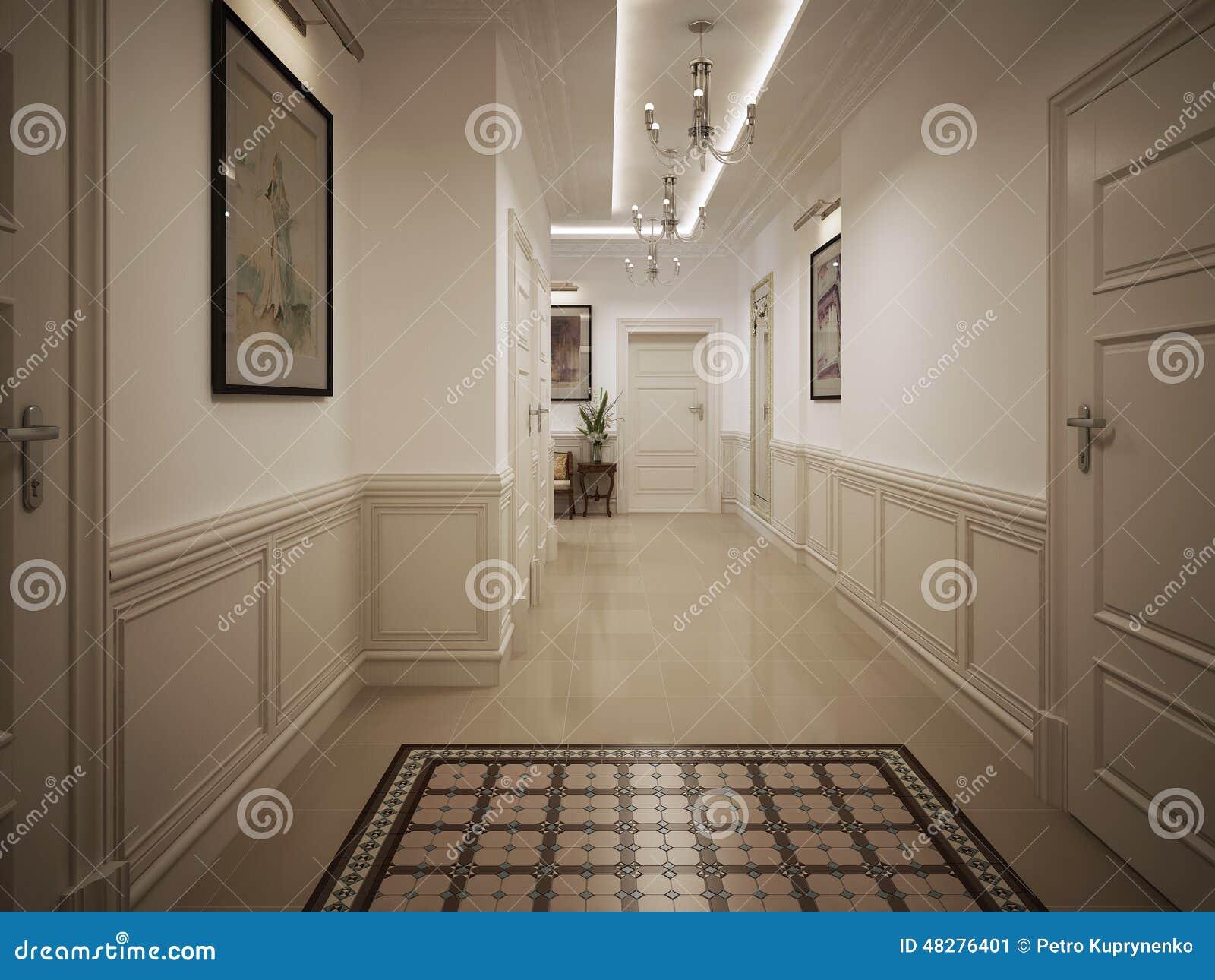 style de classique de couloir de hall illustration stock image 48276401. Black Bedroom Furniture Sets. Home Design Ideas