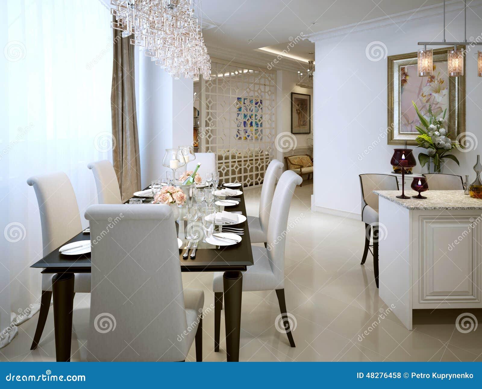 Style de classique de salle manger illustration stock for Salle a manger 3d