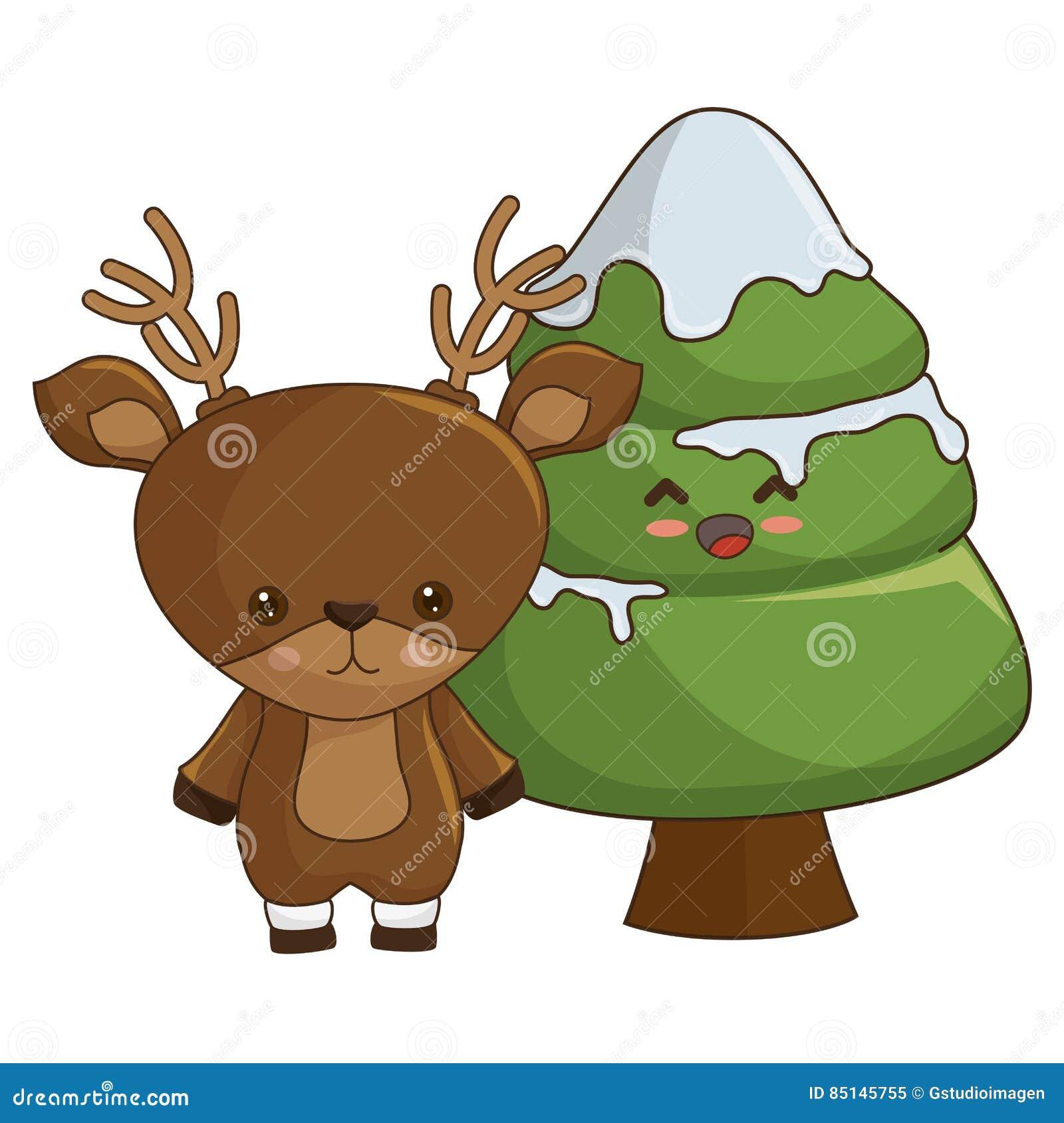 Style De Kawaii D Arbre De Joyeux Noël Illustration Stock