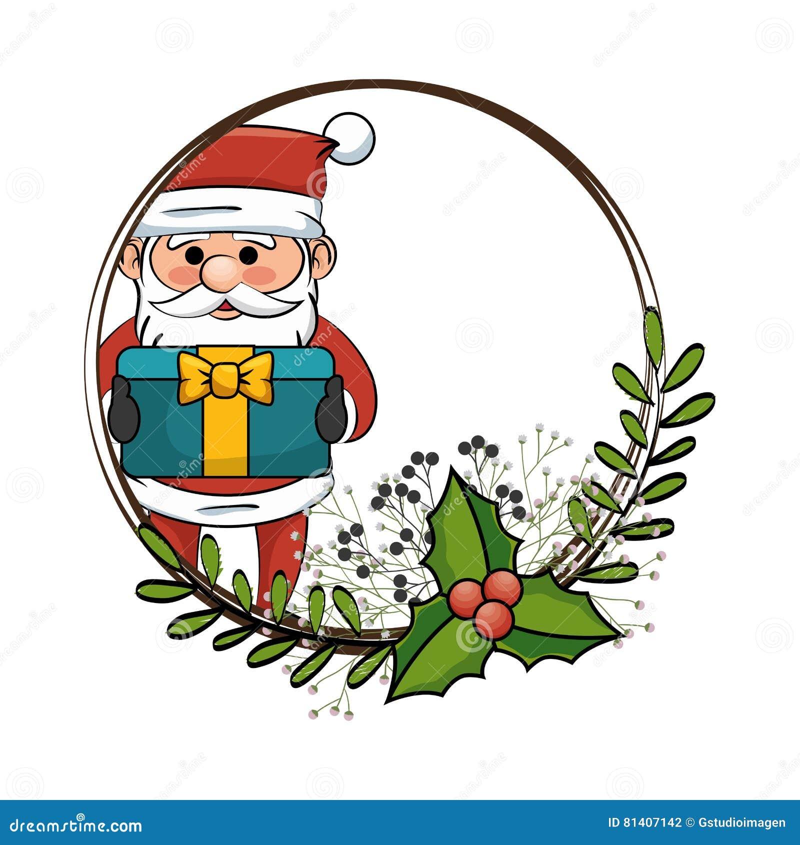 Style De Kawaii De Caractère Du Père Noël Illustration De Vecteur