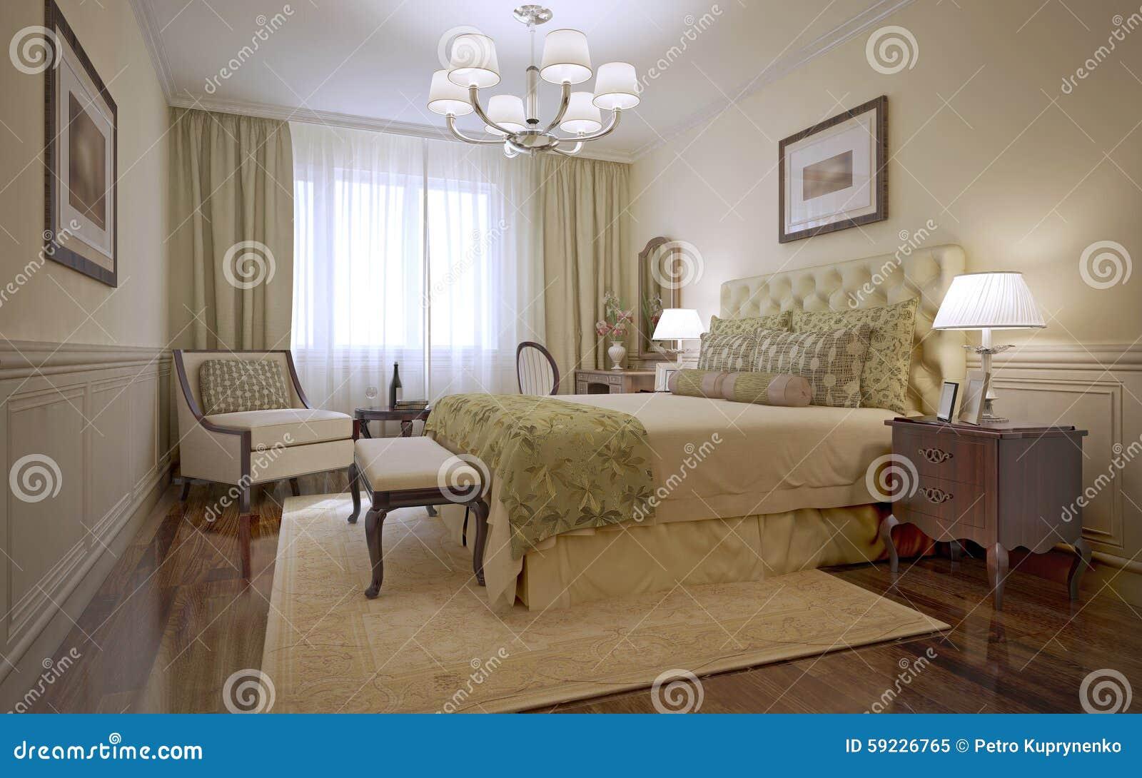Style De Luxe De L\'anglais De Chambre à Coucher Illustration Stock ...