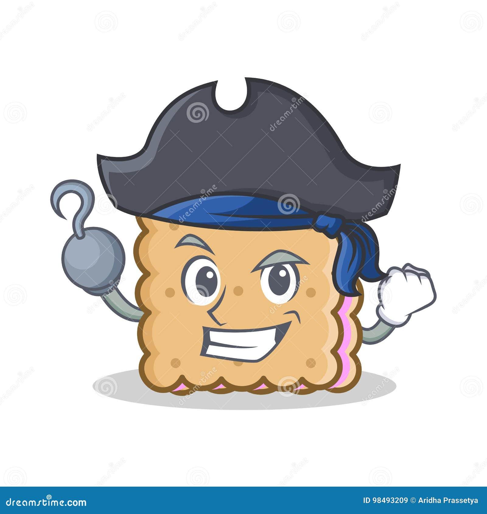 Style de personnage de dessin animé de biscuit de pirate