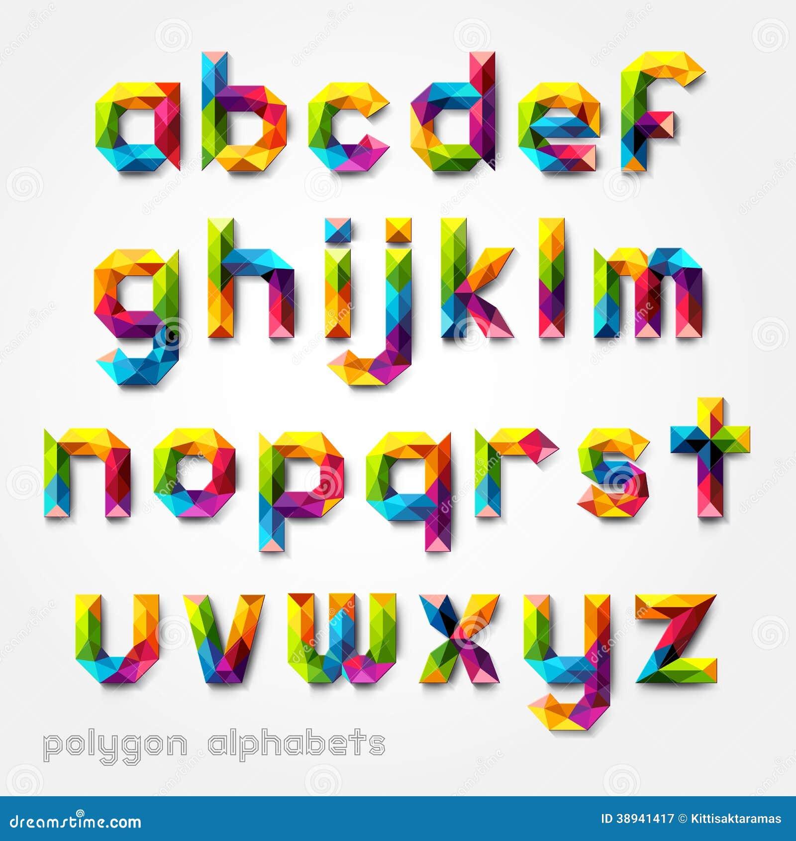 Assez Style De Police Coloré D'alphabet De Nombre De Polygone  XM68