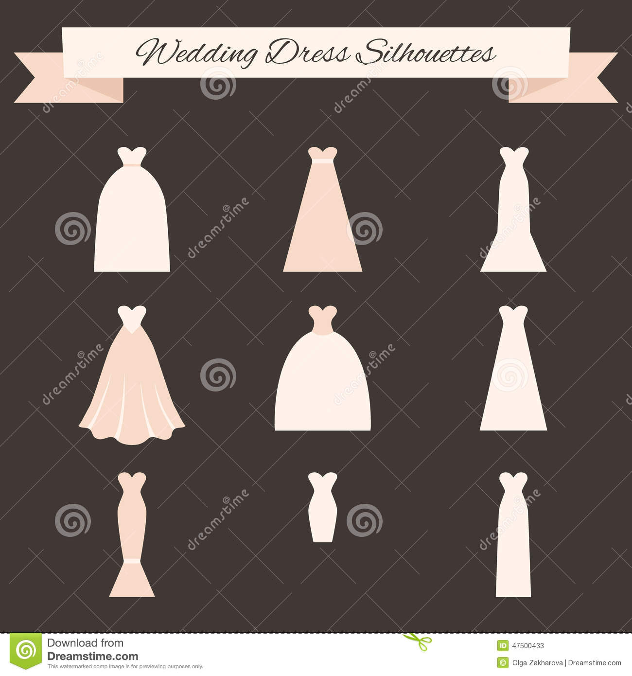 Style de robe de mariage illustration de vecteur for Types de train robe de mariage