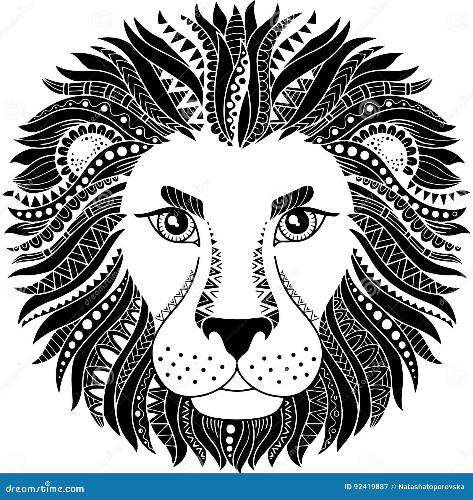 Style De Tatouage Silhouette De Lion D Isolement Sur Le Fond Blanc