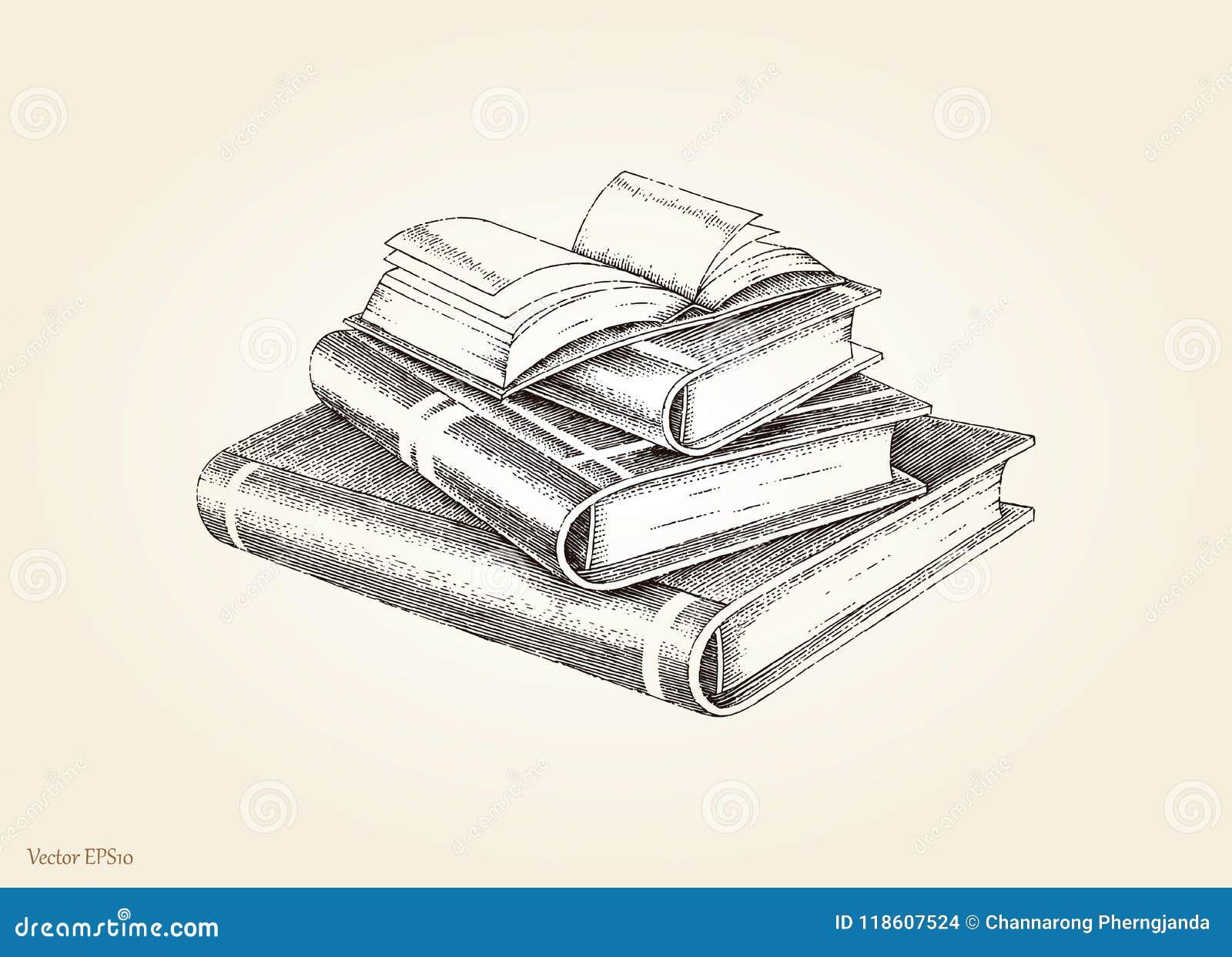 Style De Vintage De Dessin De Main De Pile De Livres
