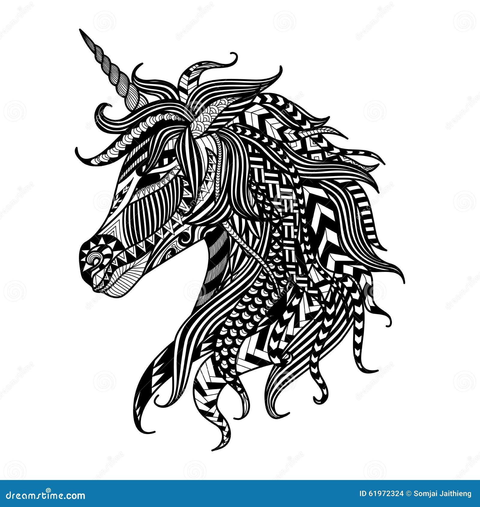 style de zentangle de licorne de dessin pour livre de coloriage tatouage conception de