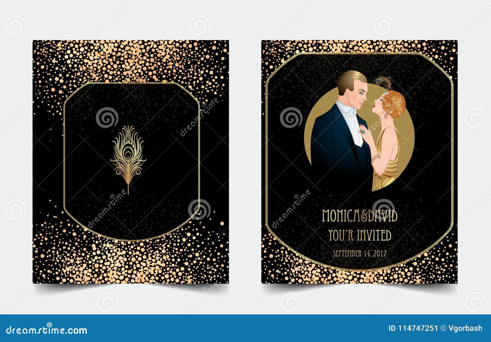 Style des années 20 d aileron Partie de vintage ou invitation thématique de mariage